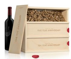 This is a great wedding gift idea for newlyweds. Select bottles of wine to give them for various anniversaries!