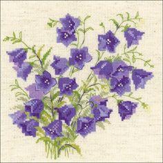 Riolis Bellflower - Flowers Cross Stitch Kit. Cross stitch kit featuring flowers. This cross stitch kit includes 14 count flaxen Aida Zweigart fabric, Safil woo