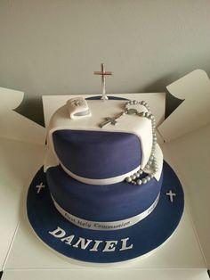 1st Holy Communion cake Boy Communion Cake, First Holy Communion Cake, Religious Cakes, Confirmation Cakes, Square Cakes, Occasion Cakes, Cakes And More, Cupcake Cakes, Cake Toppers