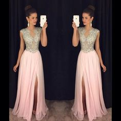 Prom Dress, Pink Dress, Chiffon Dress, Pink Prom Dress, Sparkly Dress, Pink Chiffon Dress, Dress Prom, Slit Dress, Side Slit Dress, Dress With Slit, Pink Sparkly Dress