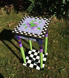 Accent Side Table flowers roses toile stripes violet green hand painted custom 12x12