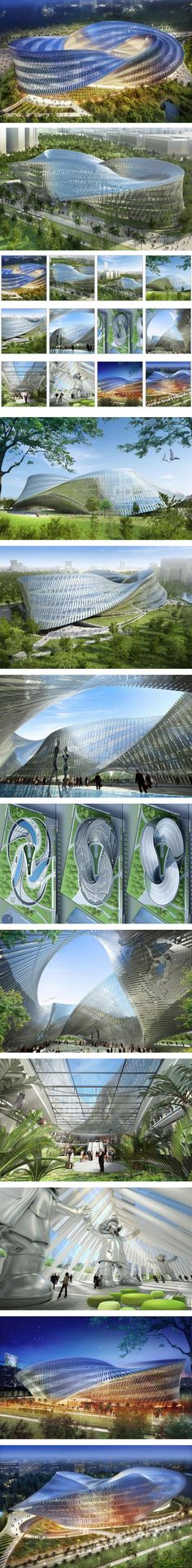 """Swallow's Nest at the North end of the new """"Gateway Park"""" located on the site of the old airport of Taichung city, by Vincent Callebaut Architectures. The project develops itself under the shape of a three-dimensional Möbius' ring"""