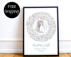 Wedding Gift, One Year Anniversary Gift, First Dance Love Song Lyrics, Personalized Wedding Anniversary Gifts, Christmas Wife Gift Idea First Dance Love Songs, Love Songs Lyrics, Personalized Wedding, Personalized Gifts, Unique Bridal Shower Gifts, Rustic Fabric, One Year Anniversary Gifts, Epson Ink, Printing On Burlap