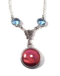 Vintage 1950's Czech Pink Opal Glass with blue Sparks Silver connector and Crystal Accents Pendant on Necklace by JujusCrafts