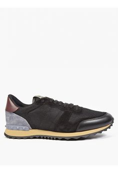 Valentino Black Suede and Mesh Running Sneakers  9f638922d8
