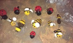 Little knitted bees and ladybirds