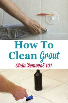Here is a round up of tips for how to clean grout, both on a routine basis and also when the grout has become stained, including both DIY remedies and cleaning product recommendations {on Stain Removal 101} #CleanGrout #CleaningGrout #HowToClean