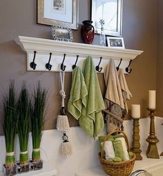 Click Pic for 30 Small Bathroom Ideas on a Budget | Coat Hooks for Towels | DIY Small Bathroom Remodel