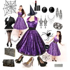 """""""1950s Halterneck Luxury Dress Spiderweb Purple! Perfect for this Halloween!!"""" by vivienofholloway on Polyvore"""