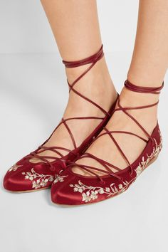 Etro | Lace-up embroidered satin ballet flats | NET-A-PORTER.COM