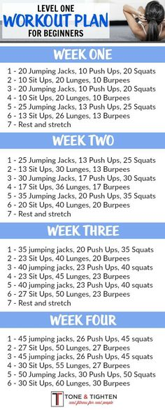 One-month workout plan for beginners! Follow the link for video descriptions of