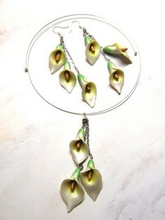 Polymer Clay Earrings & Pendant / Calla Lillies