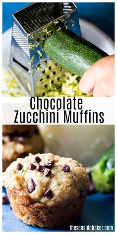 These moist Chocolate Chip Zucchini Muffins are made from a simple recipe that sneaks in some veggies without sacrificing flavor! The addition of the zucchini helps makes these extra-moist. Picky eaters who usually turn their noses up at veggies will love Healthy Muffin Recipes, Healthy Muffins, Baby Food Recipes, Dinner Recipes, Zucchini Chocolate Chip Muffins, Veggie Muffins, Chocolate Muffins, Chocolate Desserts, Picky Eaters Kids