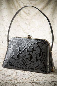 50s Victoria Lacquer Bag in Black