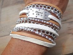 Shine On Hand Stamped Bracelet. Great Graduation Gift. by AllStrungOut925 on Etsy