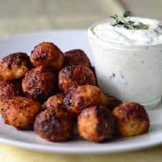 These great tasting meatballs paired with a low fat yogurt dip is perfect for a light meal or as party finger food