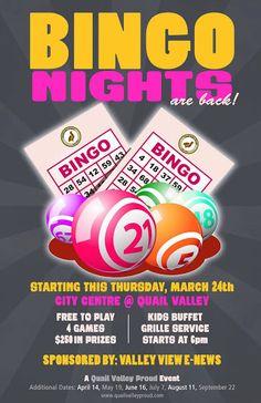 Bingo flyer bingo night poster template church school community bingo night at quail valley golf grille events saigontimesfo