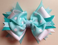 TIFFANY BLUE Polka Dot Stacked with Tulle Boutique Style Hair Bow // Newborn Infant Toddler Girls Light Blue Hair Bow
