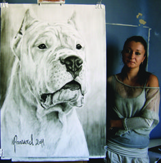 Artist Monika Paruzel of Poland loves painting dogs. But the Dogo Argentino has a special place in her heart ... and on her easel.  Modern Molosser  | www.modernmolosser.com