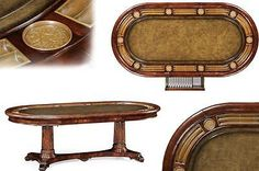 Traditional Leather Top Poker Table Seats 10 People, Card Table, Game Table