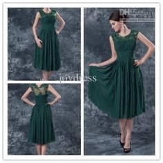 Wholesale Mother Bridesmaid Dresses - Buy Gorgeous Discount A-line Scoop Tea-length Chiffon Prom Dress Dark Green Mother of The Bride Dresses, $86.0 | DHgate