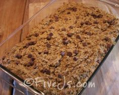 Peanut Butter and Chocolate Chip Baked Oatmeal - can be frozen for future breakfasts/snacks