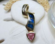 14k Yellow Gold Opal, Diamond, and Pink Sapphire Pendant 2.98g - pinned by pin4etsy.com