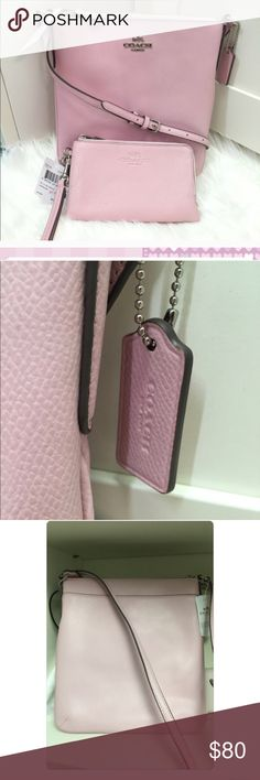 """NWT Coach Crossgrain Leather NS Crossbody Imported Made of cross grain leather Strap for shoulder or cross body wear Zip top closure, fabric lining Inside 1 slip pocket, outside 1 back slip pocket 8.25"""" (L) x 8.75"""" (H) x 1""""(D) coin purse not included! Coach Bags Crossbody Bags"""