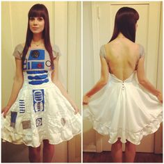 Made this R2D2 costume (dress) from scratch with my friend this year for Halloween 2012. I love Star Wars!