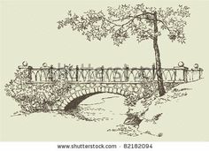 Vector image. Landscape sketch of the branches of a maple near the stone bridge over the river by MarArt, via Shutterstock