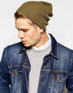 Image 3 ofASOS Slouchy Beanie Hat In Khaki