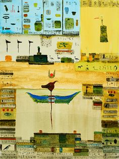 """John Lurie. Famous errors in hieroglyphics , watercolor, ink on paper, 24""""x18"""", 2015"""