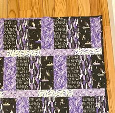 """Wellness and exercise 44"""" x 56"""" handmade Picnic Quilt, Violet Background, Welcome Home Gifts, Purple Quilts, Quilted Gifts, Custom Quilts, Monogram Letters, Baby Quilts, Special Gifts"""