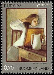 1975 Finlandia - Europa - (CEPT, tema comune) - Pittura: Magnus Enckell - Girl Straightening Her Hair - 1902 - Finnish National Gallery, Helsinki Postage Stamp Design, Popular Hobbies, Envelope Art, Europe, Vintage Stamps, Stamp Collecting, Mail Art, Gallery, Illustration