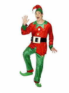 Men/'s ELF Christmas Helper Xmas Party Fancy Dress Costume 26025