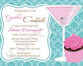 Cupcakes and Cocktails Bridal Shower Invitation Bachelorette - DIY Print Your Own - Matching Party Printables available