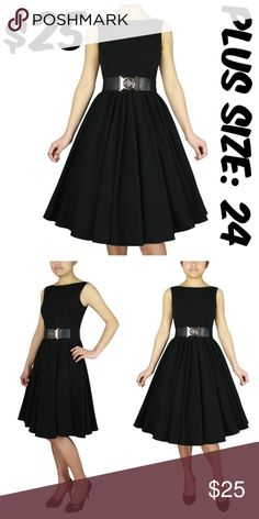 """Pin Up Plus Size Dress Vintage Clothing Girl 1950s Pin Up Plus Size Dress Vintage Clothing Girl 1950s BUST: 52"""" WAIST: 44"""" CONDITION: NEW BELT NOT INCLUDED  63% POLYESTER 33% RAYON 4% SPANDEX Dresses"""