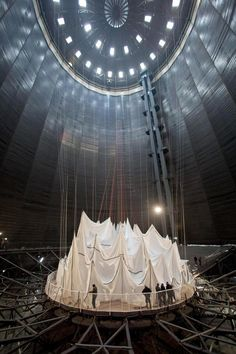 """Acclaimed artist Christo recently unveiled the """"largest indoor sculpture ever made""""- an inflatable, light-Infused Installation in Germany:  http://www.archello.com/en/project/big-air-package  #Design #indoor"""