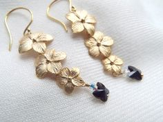 Long Gold flowers Butterfly earrings Hollywood by byLaurieB