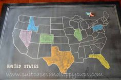 chalkboard map - chalkboard fabric - playroom or cohen's room?