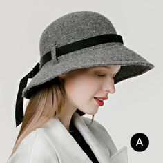 00b0226d265 Gray wool floppy hat with bow for women vintage wide brim felt hats