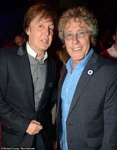Partying on: former Beatle Sir Paul McCartney and Roger Daltrey from The Who