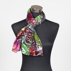 Tropical Reef, silk devore scarf painted by Marlyse Carroll