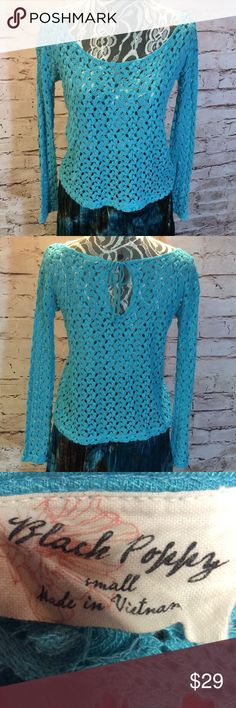 OPEN WEAVE CROCHET STYLE TOP Beautiful top with a boho flare. Open weave design with a keyhole tie in the back Black Poppy Tops Blouses