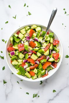 Shirazi Salad with Fresh Mint (Persian Cucumber Tomato Salad) - Know Your Produce Persian Salad, Persian Cucumber, Summer Salad Recipes, Summer Salads, Shirazi Salad, Cucumber Tomato Salad, Raw Vegetables, Salad Ingredients, Food N