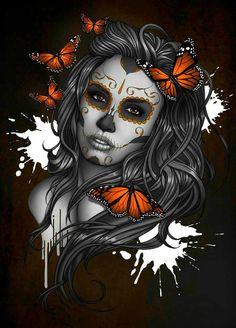 Sugar skull girl drawing by ben krefta Sugar Skull Mädchen, Sugar Skull Girl Tattoo, Sugar Skull Artwork, Girl Skull, Sugar Skull Drawings, Sugar Skull Wallpaper, Sugar Tattoo, La Muerte Tattoo, Catrina Tattoo
