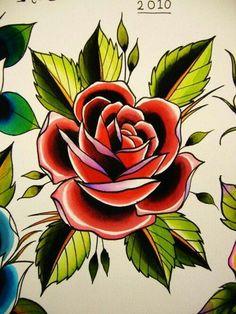 rosa old school tattoo rose / rosa old school tattoo _ rosa old school tattoo black _ rosa old school tattoo rose Tatto Old, Tatoo Art, Body Art Tattoos, Traditional Rose Tattoos, Traditional Roses, American Traditional Rose, Tatoo Flowers, Flower Tattoos, Trendy Tattoos