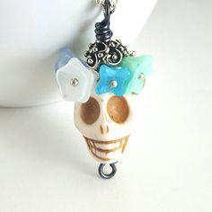 Sugar Skull Necklace Dia De Los Muertos Jewelry by paperfacestudio on Etsy