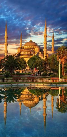 Sunset over the Sultan Ahmed Mosque, Istanbul, Turkey