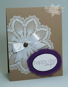 Happy Day (Stampin Up Hello Doily stamp) card...